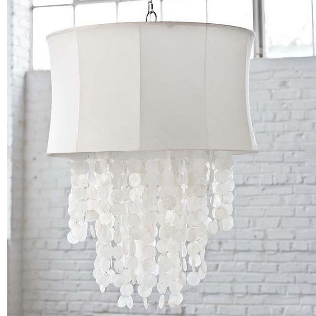 Antique Fabric and Shell Chandelier 9787