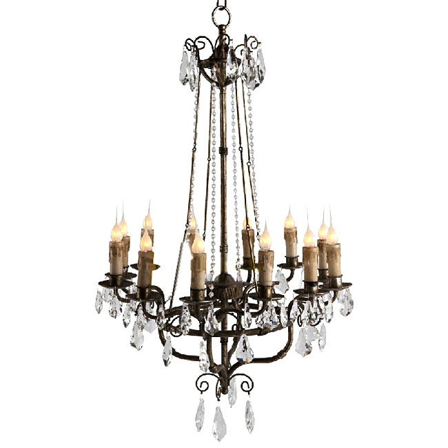 Antique Country Metal And Crystal Chandelier 9843