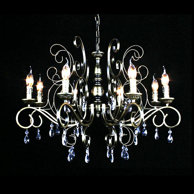 Antique Metal and Crystal Chandelier in Baking Finish 9862