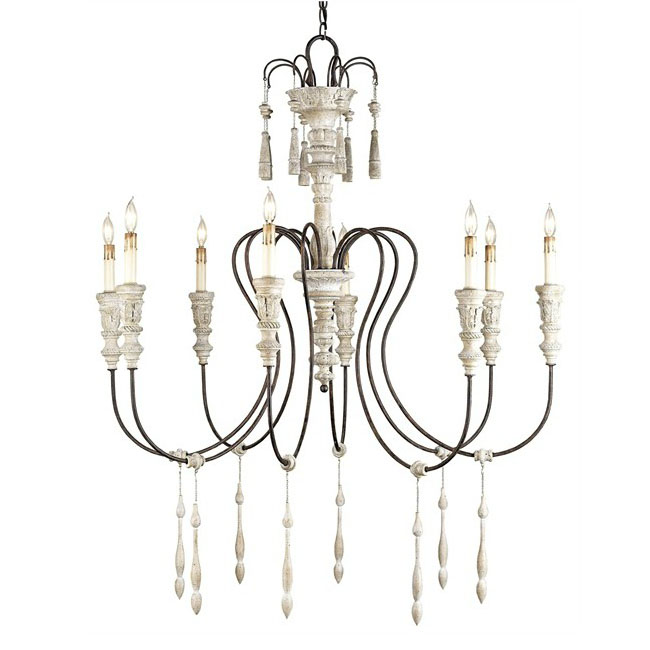 Antique Iron and Wood Candles Chandelier 9890