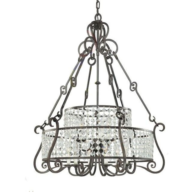 Antique Iron Art and Crystal Chandelier 9996