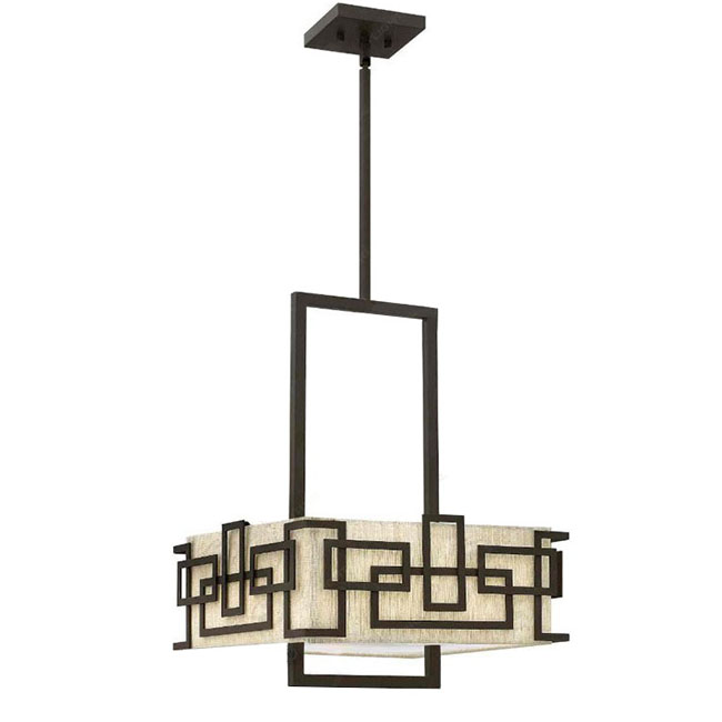 Post Modern Classic Flax Shade And Iron Art Chandelier 10023