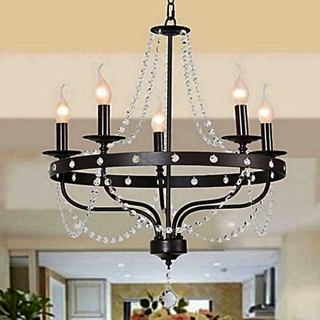 Country Iron and Crystal Candles Chandelier 10108