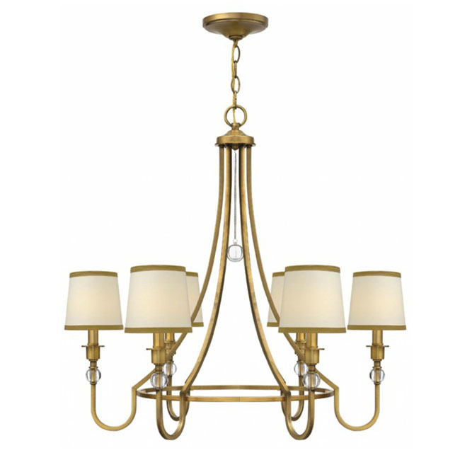 Modern Flax Shades and Gold Metal Chandelier 10414