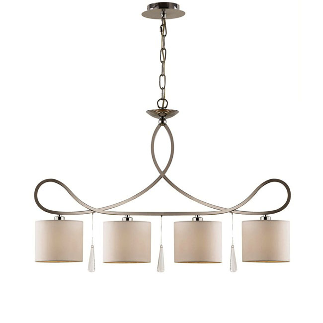 Modern Chrome Metal And Flax Shades Chandelier 10415