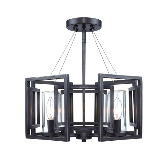Post modern Iron Art and 4 Clear Glass shades Chandelier 10435