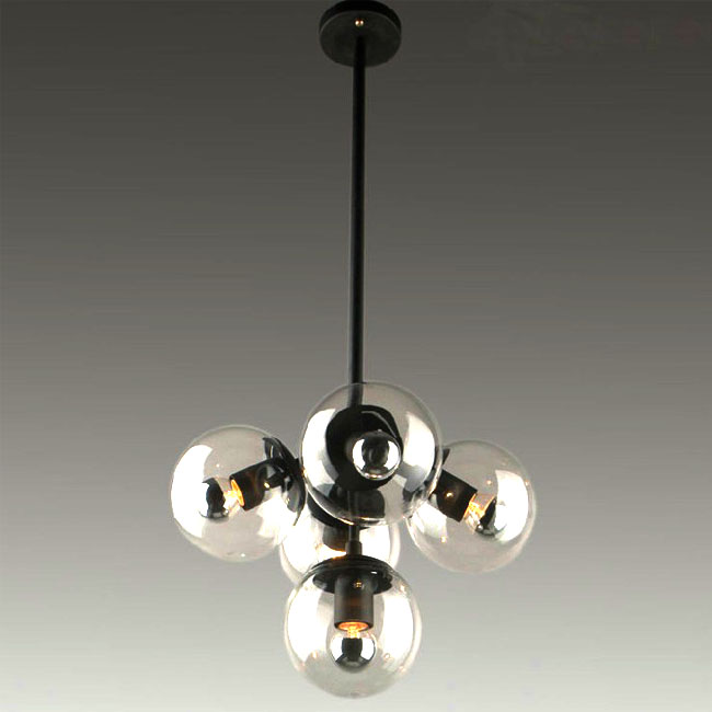 PHX Post Modern 5 Orb Glass Shades Chandelier 8009