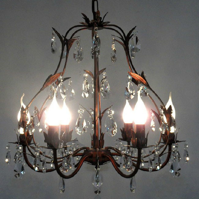 Antique PHX Iron and Crystal Chandelier in Rusted Copper Finish