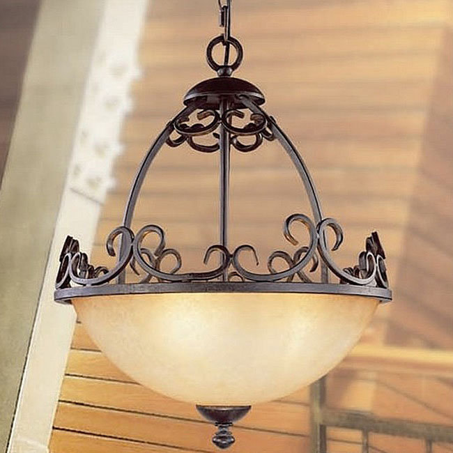 Antique Country Iron Art and Marble Shade Chandelier 10594