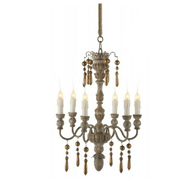 Antique Country Wood Art Chandelier 10607