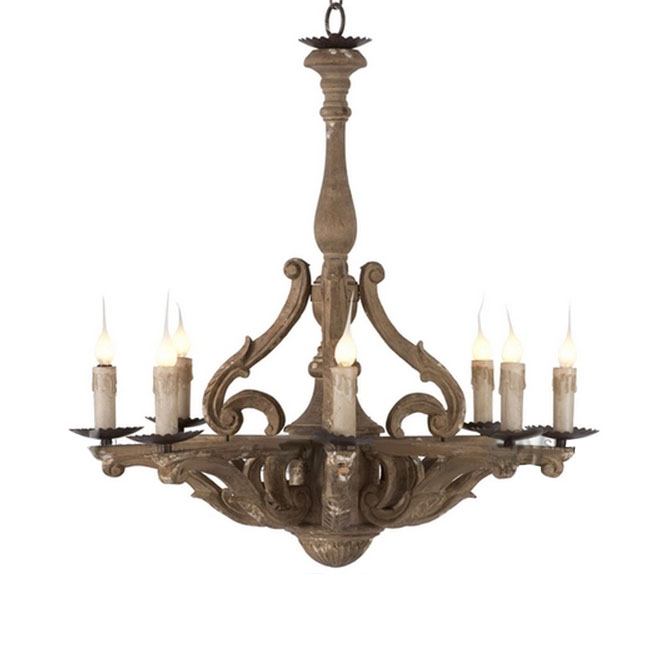 Antique Wood Art 8 Lights Chandelier in Rusted Finish 10815