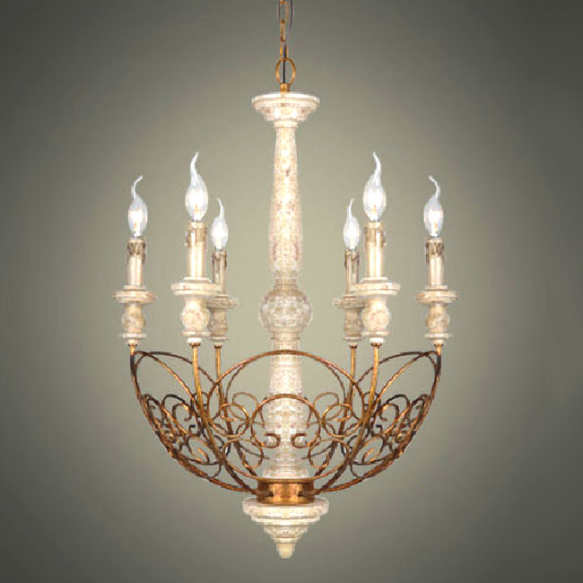Antique Country Iron and Wood 6 Candles chandelier 10822