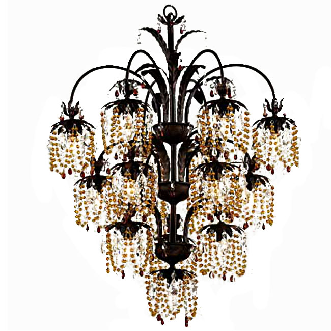 Country Crystal Grape Chandelier in Baking Finish 7319