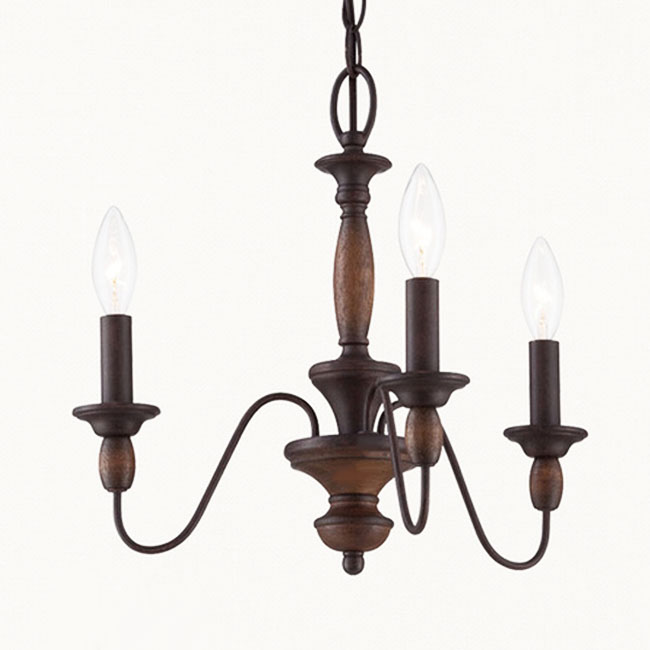 North Iron and Wood Chandelier in Rusted Finish 7320