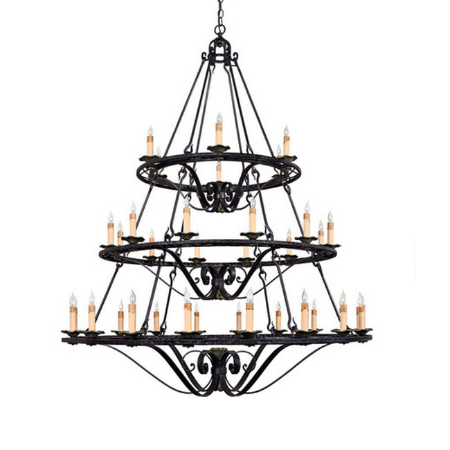 Antique Iron Art and Candles Chandelier in Baking Finish 7332