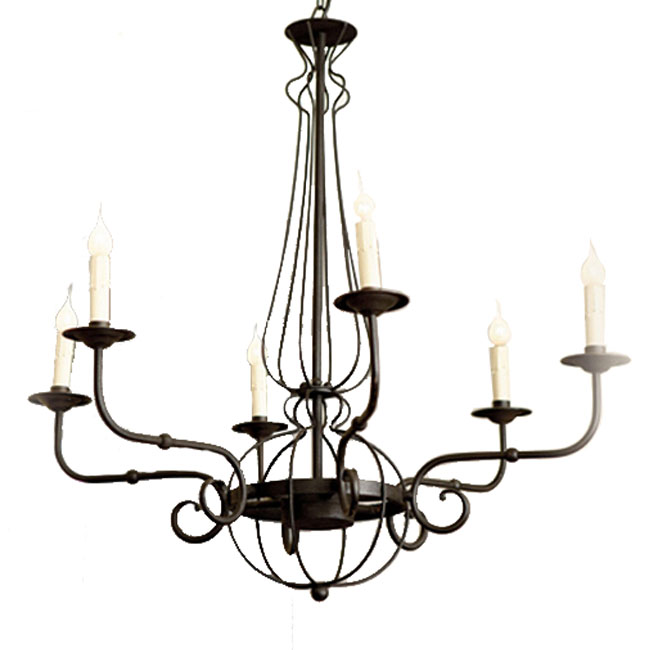 Antique Iron Art and Candles Chandelier 10886