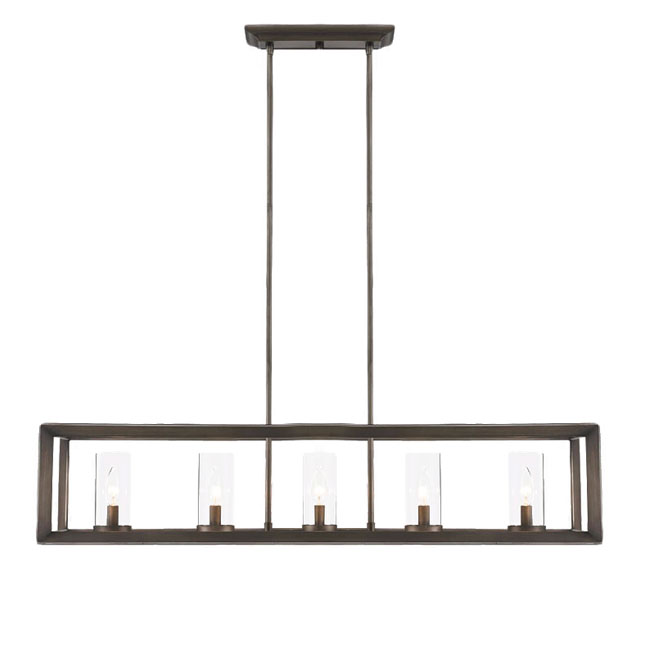 Country Oblong Metal and Glass Chandelier in Baking Finish 10899