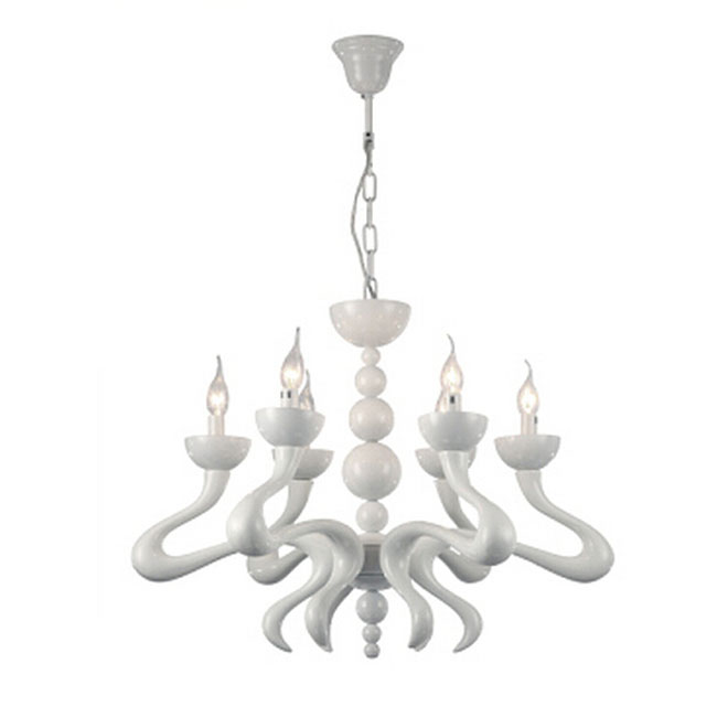 Modern Resin Candles Chandelier in Baking Finish 10910