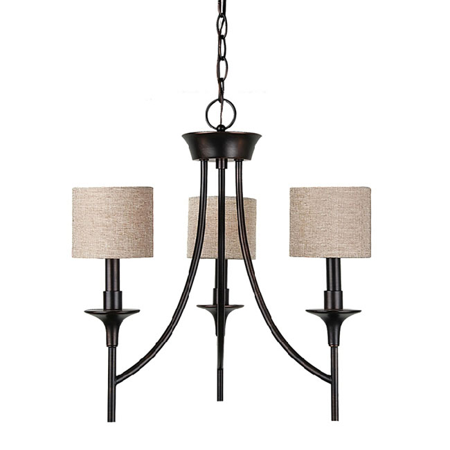 Modern Iron and Flax Shades Chandelier in Baking Finish 10917