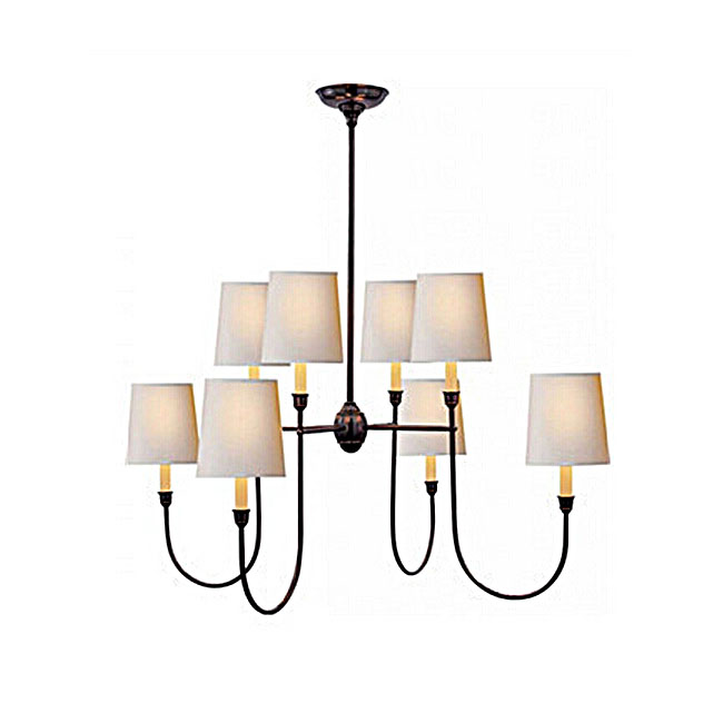 North Iron and 8 White Flax Shade Chandelier 10928