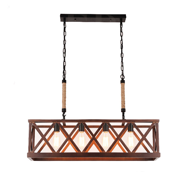 LOFT Wood Frame  4 Lights Chandelier in Painted Finish 10945