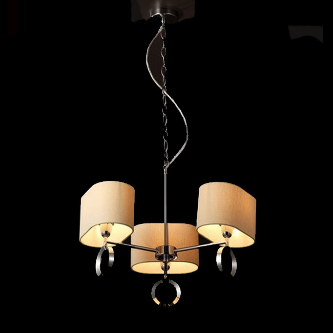 Italy Metal and Flax Shades Chandelier in Chrome Finish 10950