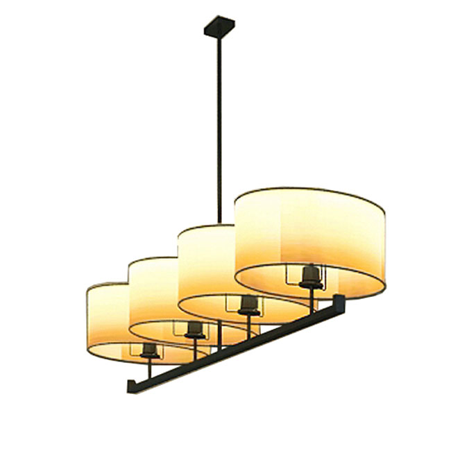 Modern 4 Parchment Shades Chandelier in Baking Finish 10995