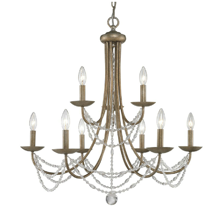 Country PHX Copper and Crystal Chandelier 11097