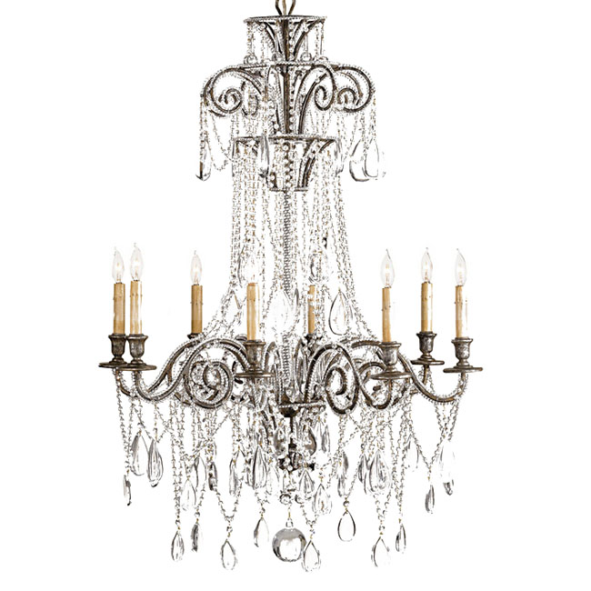 Antique Country Crystal and Metal Chandelier 11099