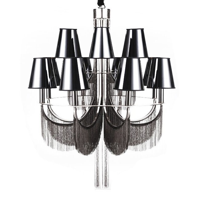 Post Modern Chain and Fabric Shade chandelier 11128