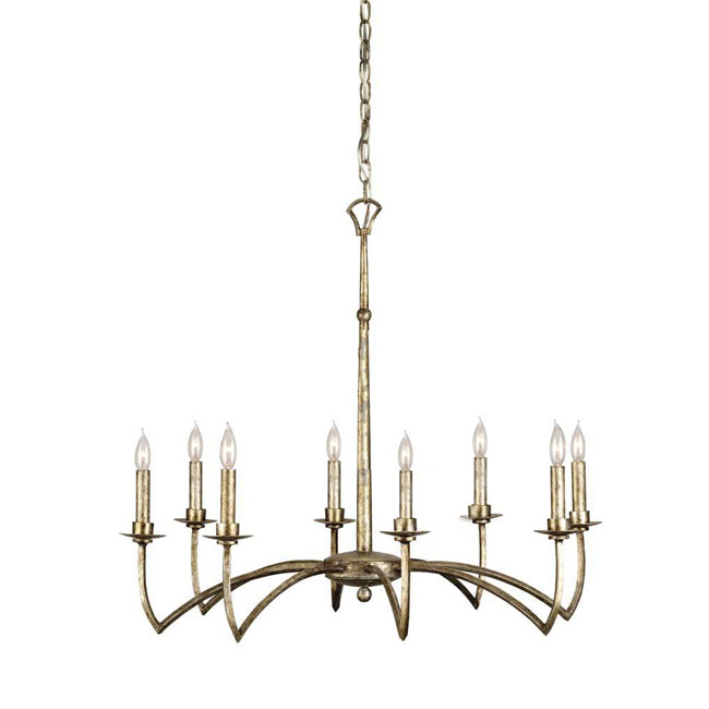 Modern 8 Metal Candles Chandelier in Gold Finish 11241