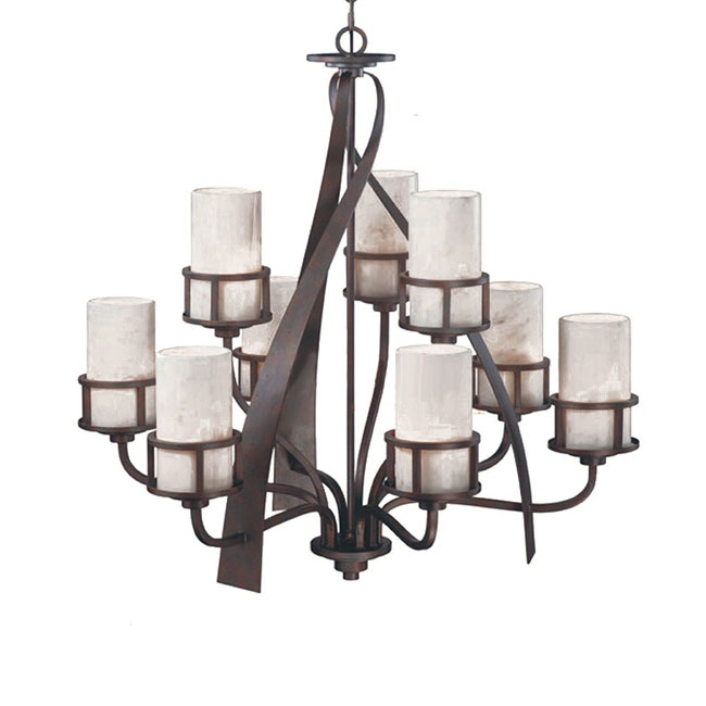 Modern Iron and 9 Marble Shades Chandelier 11319