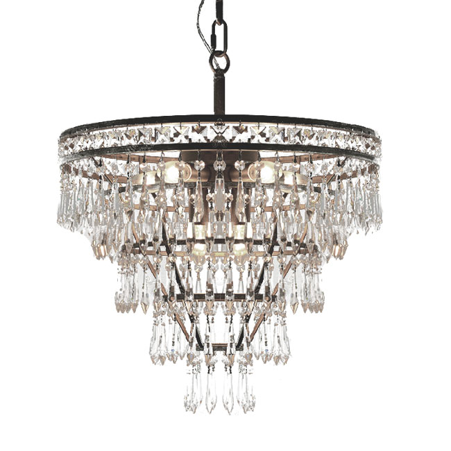 Country Crystal and Iron Chandelier 11321