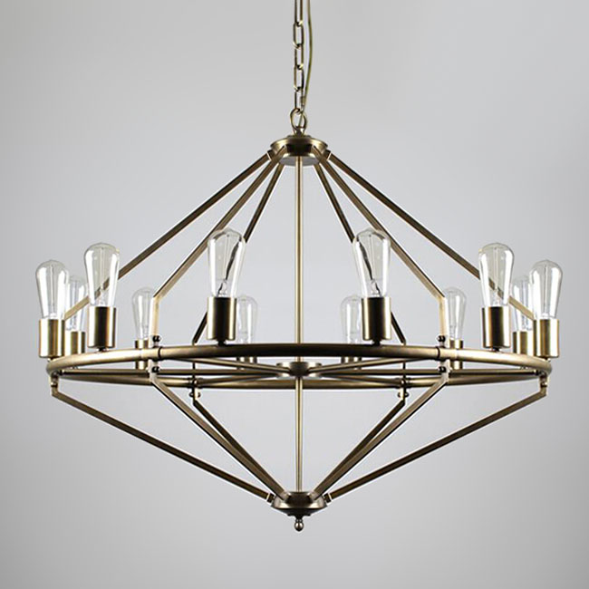 Post Modern Copper 12 Bulbs Chandelier 11322