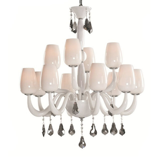 Modern white Glass Crystal Chandelier 11379
