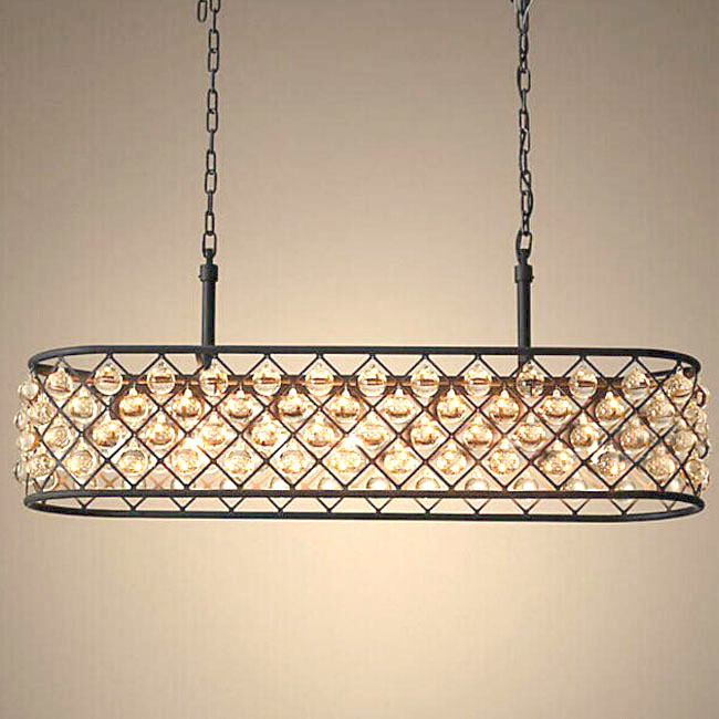 North Iron and Crystal Oblong Chandelier 11421