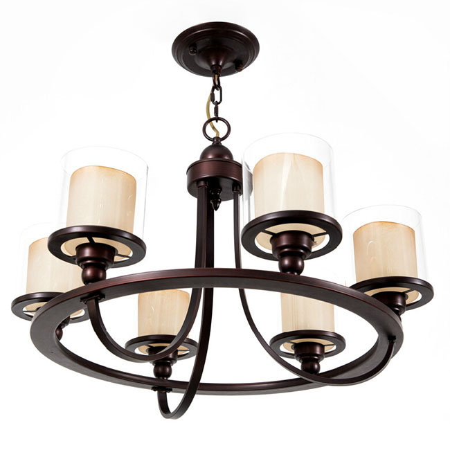 Modern Iron and 2 Layer Glass Shades Chandelier 11423