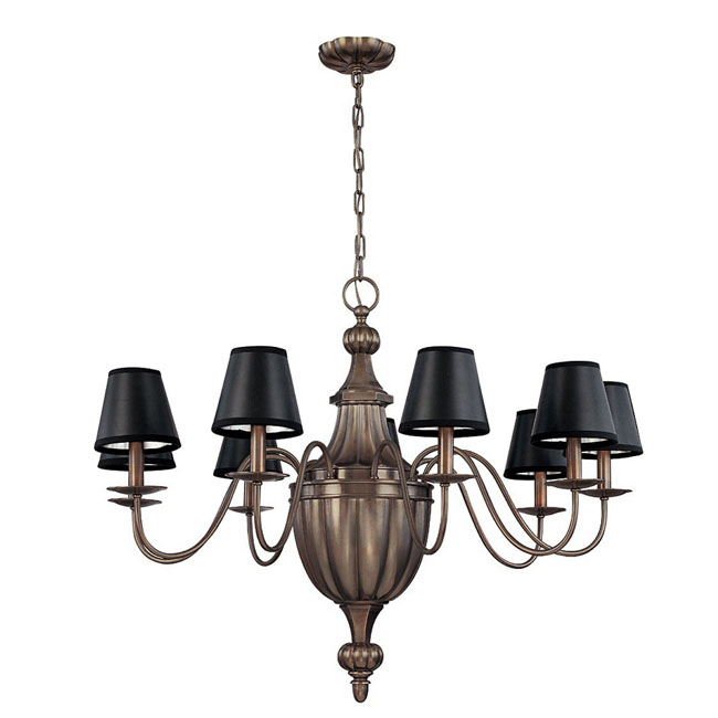 PHX Antique Completely Copper 9-Shade Chandelier 11433