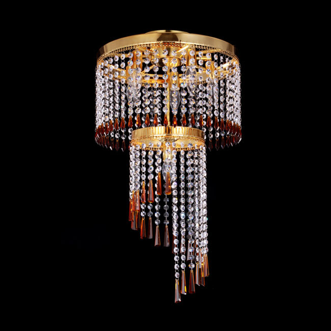 Post Modern Gold Metal and Crystal Chandelier 11510