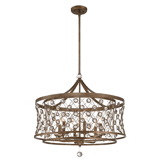 PHX2 Metal and Crystal 6 lights Chandelier 11569