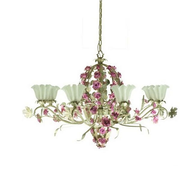 Country Flowers 8 Lights Chandelier 11610