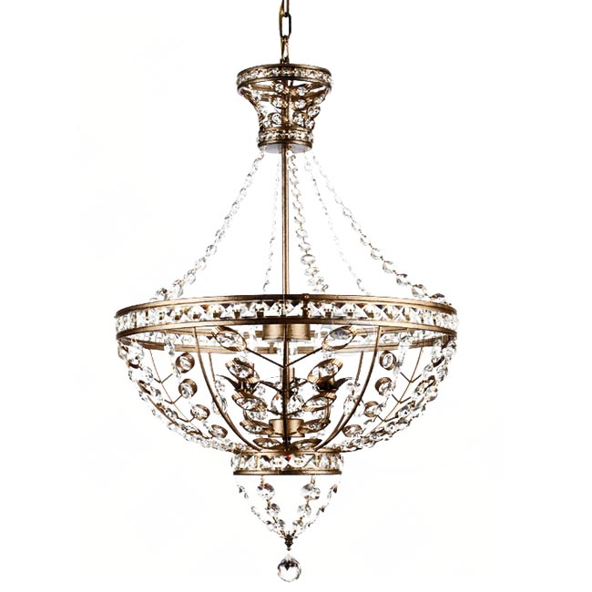 Country Copper and Crystal Chandelier 11959