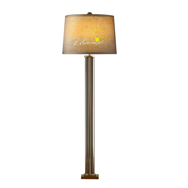 North Crystal Tube Arm and Flax Shade Floor Lamp 7494