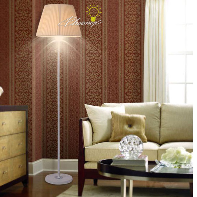 Modern Fabric Shade Floor Lamp in Chrome Finish 7593