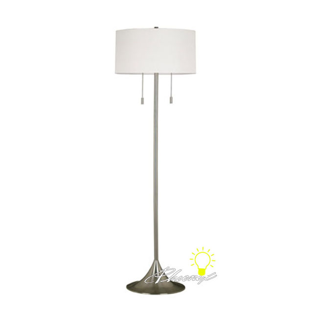 Modern Simple White Fabric shade Floor Lamp in Brushed Finish 86