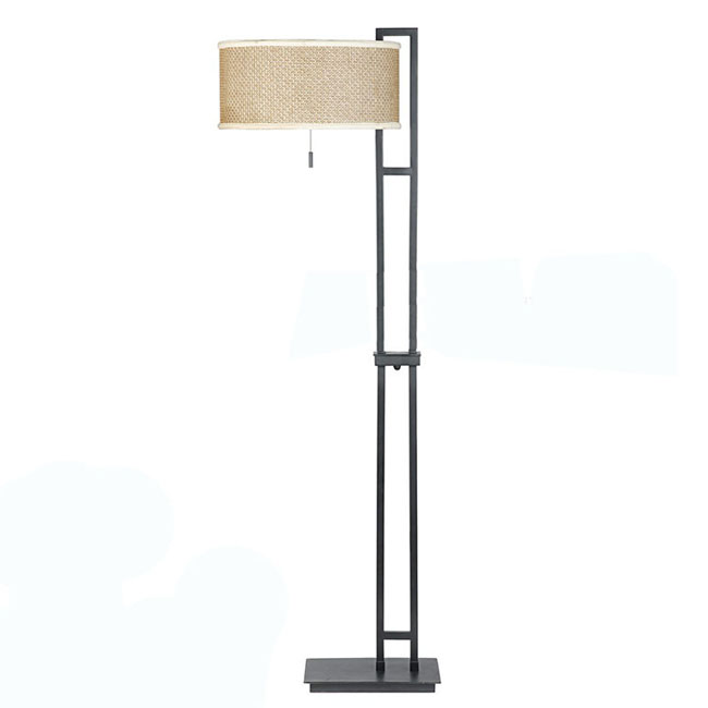 Modern Iron and Fabric Shades Floor Lamp in Baked Finished 9754