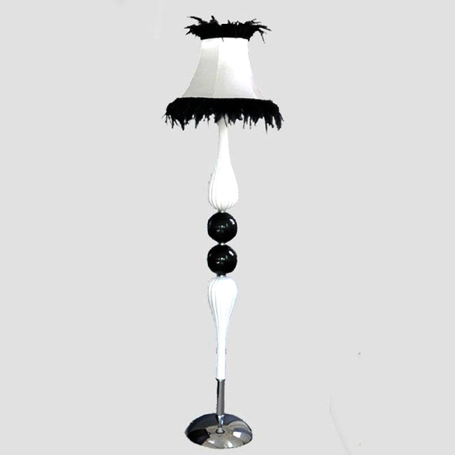 Modern White and Black Glass Floor Lamp 9805