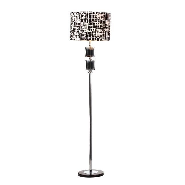 Modern White and Black Pattern Fabric Shade Crystal Floor Lamp 9
