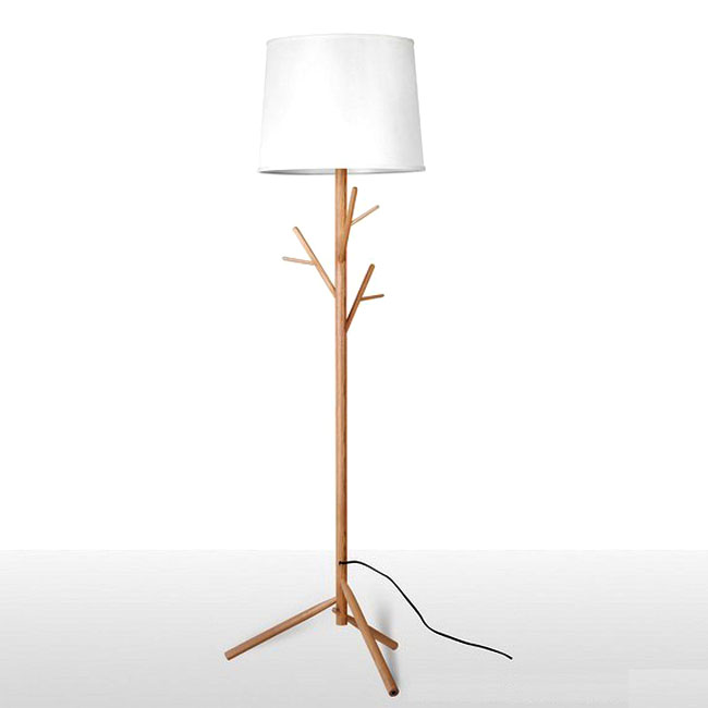 Modern Simple Wooden And Fabric Shade Floor Lamp 9899