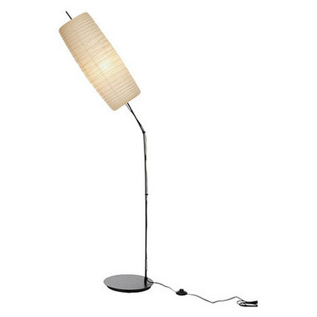Modern Cotton Paper Shade and Metal Floor Lamp in Chrome Finish